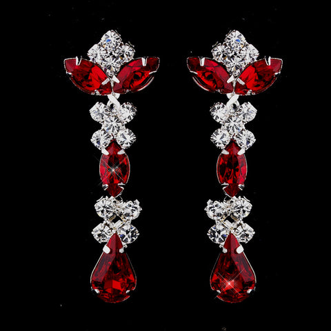 Silver Red & Clear Round, Marquise, Teardrop Bridal Wedding Earrings 1007