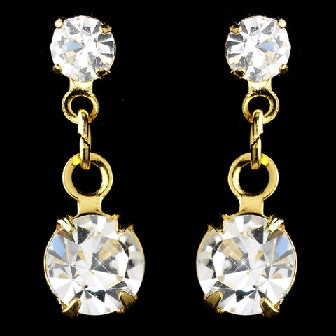 Gold Clear Rhinestone Drop Bridal Wedding Earrings 1020