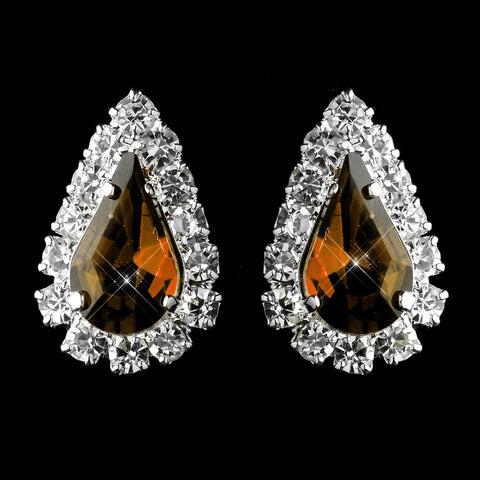 Silver Brown & Clear Teardrop Stud Bridal Wedding Earrings 1361