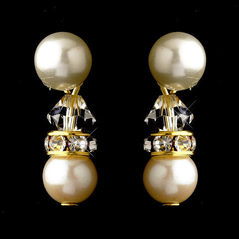 Gold Ivory Pearls & Clear Swarovski Crystal Rondelle Rhinestones Bridal Wedding Earrings 1402
