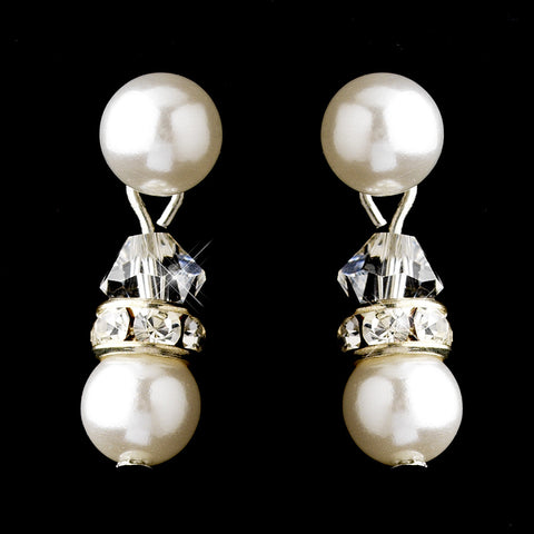 Silver White Pearls & Clear Swarovski Crystal Rondelle Rhinestones Bridal Wedding Earrings 1402
