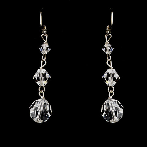 Silver Clear Swarovski Crystal Bead Dangle Bridal Wedding Earrings 2018