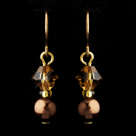 Gold Brown Czech Glass Pearl & Swarovski Crystal Bead Bridal Wedding Earrings 2031