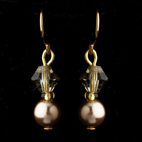 Gold Light Brown Czech Glass Pearl & Swarovski Crystal Bead Bridal Wedding Earrings 2031