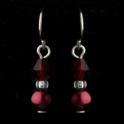 Silver Burgundy Czech Glass Pearl & Swarovski Crystal Bead Bridal Wedding Earrings 2031