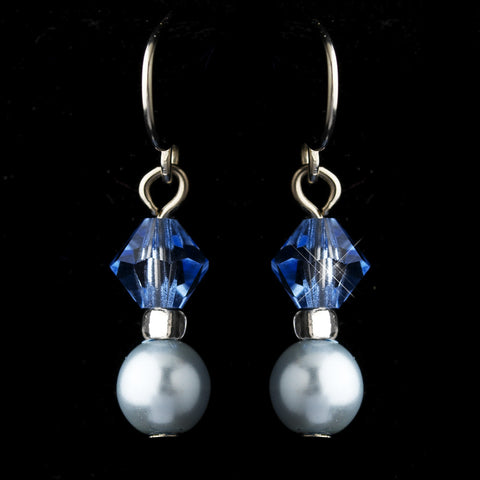 Silver Light Blue Czech Glass Pearl & Swarovski Crystal Bead Bridal Wedding Earrings 2031