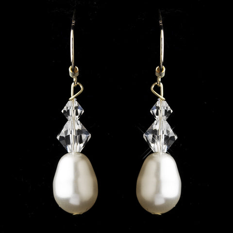 Silver White Pearl & Swarovski Crystal Bead Bridal Wedding Earrings 2060