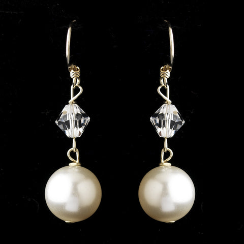 Silver White Pearl & Swarovski Crystal Bead Bridal Wedding Earrings 2064