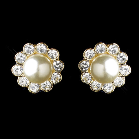 Gold Ivory Pearl & Round Rhinestone Flower Stud Bridal Wedding Earrings 2070