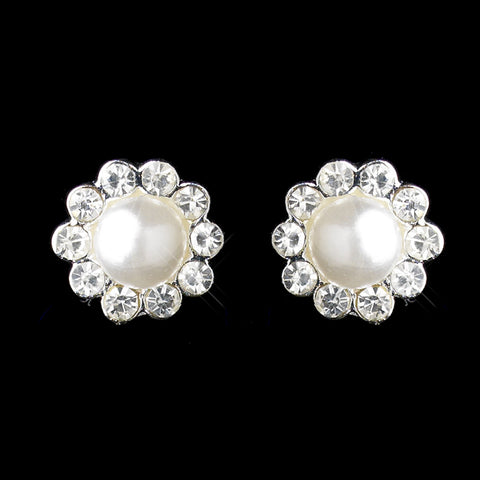 Silver White Pearl & Round Rhinestone Flower Stud Bridal Wedding Earrings 2070