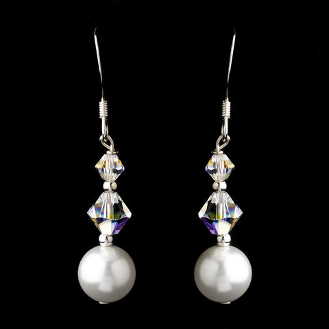 Silver White Glass Pearl & Swarovski Crystal Bead Dangle Bridal Wedding Earrings 2101