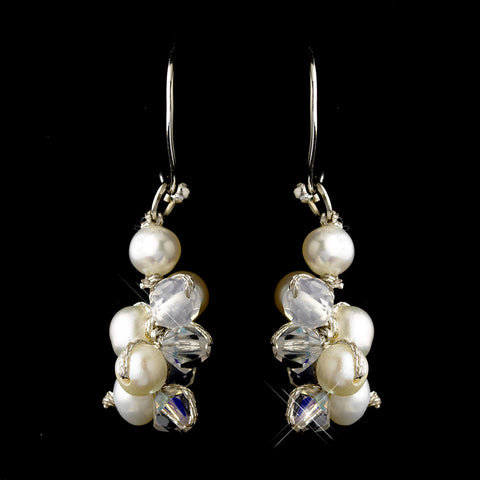 Silver Freshwater Pearl & AB Swarovski Crystal Bead Dangle Hook Bridal Wedding Earrings 2148
