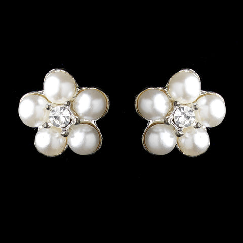 Silver White Pearl & Round Rhinestone Flower Stud Bridal Wedding Earrings 2606