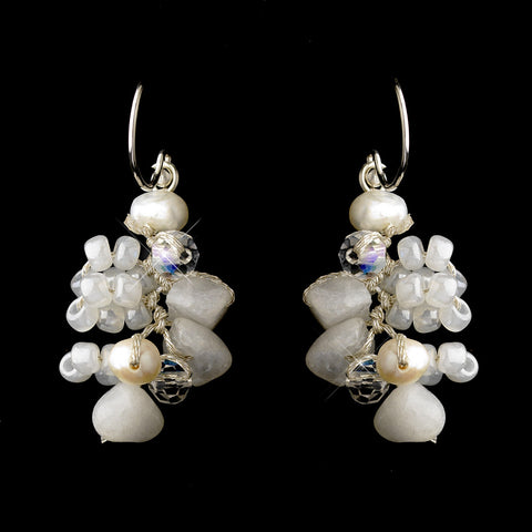 Silver Freshwater Pearl & Swarovski Crystal Bead Dangle Bridal Wedding Earrings 2621