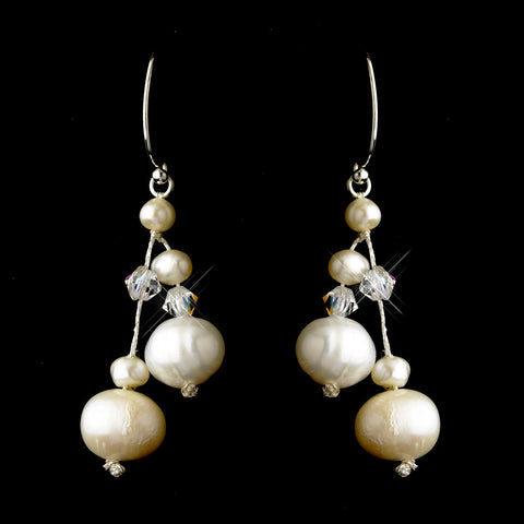 Silver Freshwater Pearl & Swarovski Crystal Bead Dangle Bridal Wedding Earrings 2810