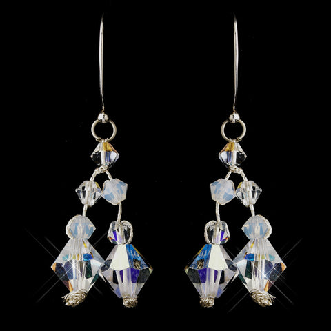 Silver AB Swarovski Crystal Bead Bridal Wedding Earrings 3292