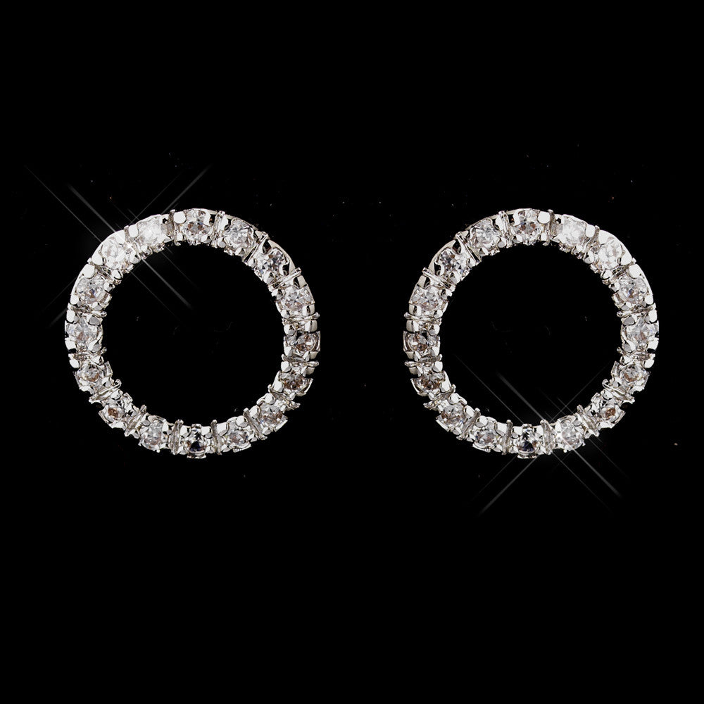 Antique Silver Rhodium Clear Rhinestone Circle Bridal Wedding Earrings 3688