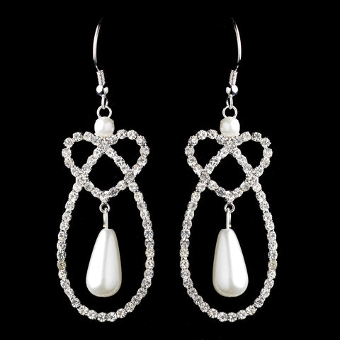 Silver White Pearl & Rhinestone Dangle Twist Heart Bridal Wedding Earrings 5279