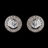 Antique Silver Rhodium Clear Round CZ Crystal Stud Bridal Wedding Earrings 5783