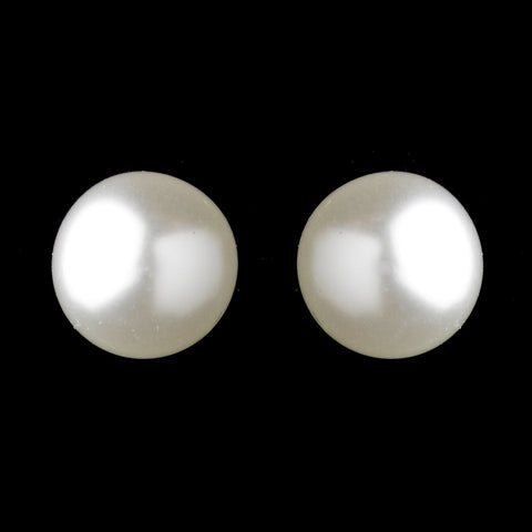 Silver White 10mm Pearl Stud Pierced Bridal Wedding Earrings 6062