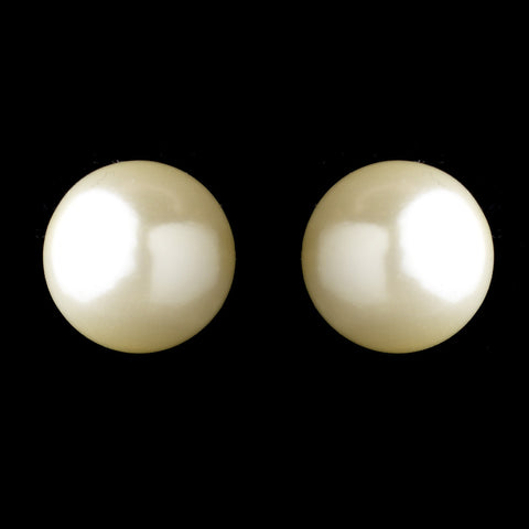 Gold Ivory Pearl Stud Bridal Wedding Earrings 6072