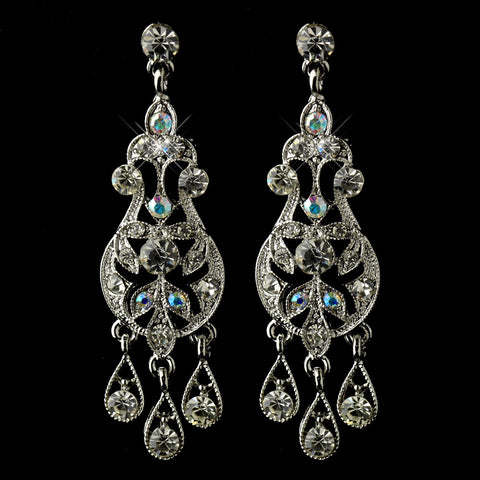 Antique Rhodium Silver AB & Clear Rhinestone Chandelier Bridal Wedding Earrings 6386