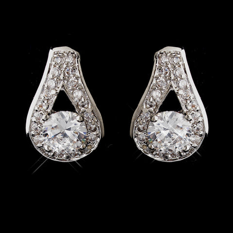 Antique Silver Rhodium Clear CZ Crystal Stud Bridal Wedding Earrings 6653