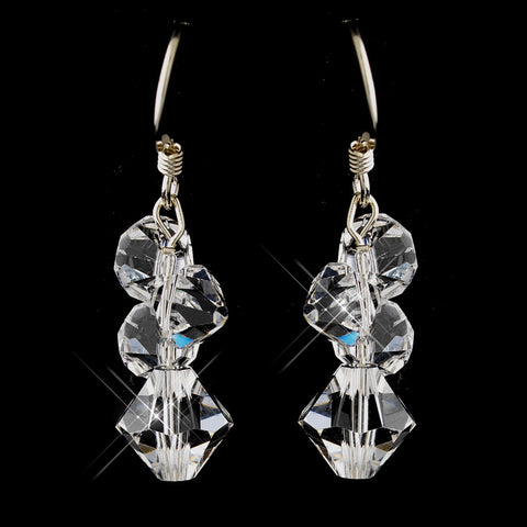 Silver Clear Swarovski Crystal Cluster Dangle Bridal Wedding Earrings 6710