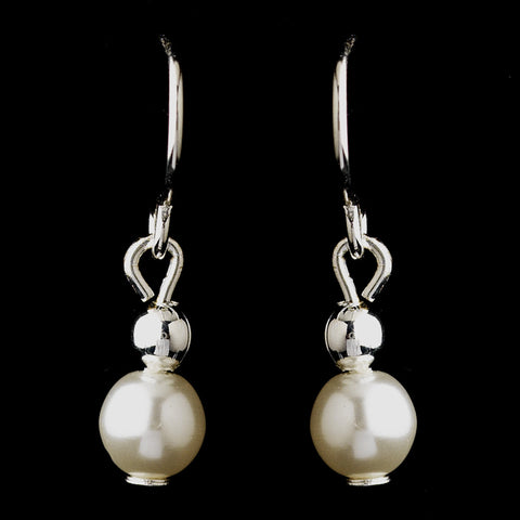 Silver White Czech Glass Pearl Bridal Wedding Earrings 6803