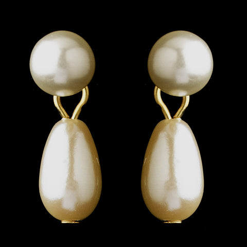Gold Ivory Glass Pearl Dangle Bridal Wedding Earrings 7062