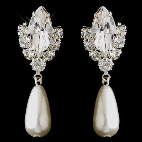 Silver White Glass Pearl & Clear Marquise Rhinestone Bridal Wedding Earrings 7131