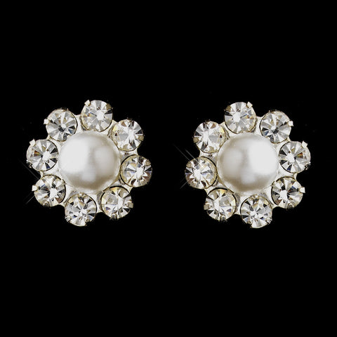 Silver White Glass Pearl & Clear Rhinestone Stud Bridal Wedding Earrings 7202