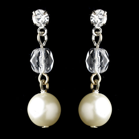 Silver White Pearl & Rhinestone Drop Bridal Wedding Earrings 8206