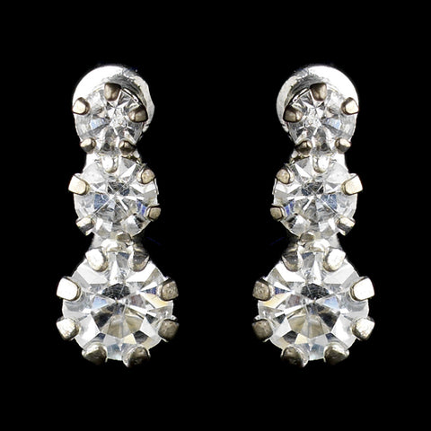 Silver Clear Graduated Round Rhinestone Drop Bridal Wedding Earrings 8301