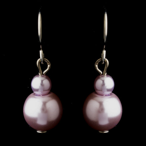 Silver Light Amethyst Glass Pearl Drop Bridal Wedding Earrings 8601