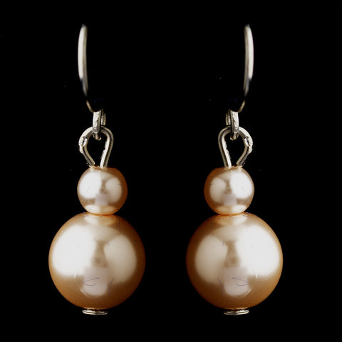 Silver Pink Glass Pearl Drop Bridal Wedding Earrings 8601