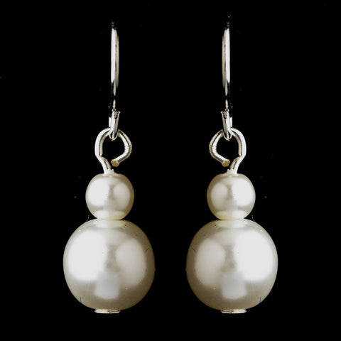 Silver White Glass Pearl Drop Bridal Wedding Earrings 8601