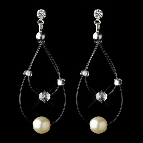 Silver Ivory Pearl Illusion Dangle Bridal Wedding Earrings 8607
