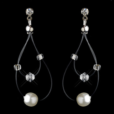 Silver White Pearl Illusion Dangle Bridal Wedding Earrings 8607