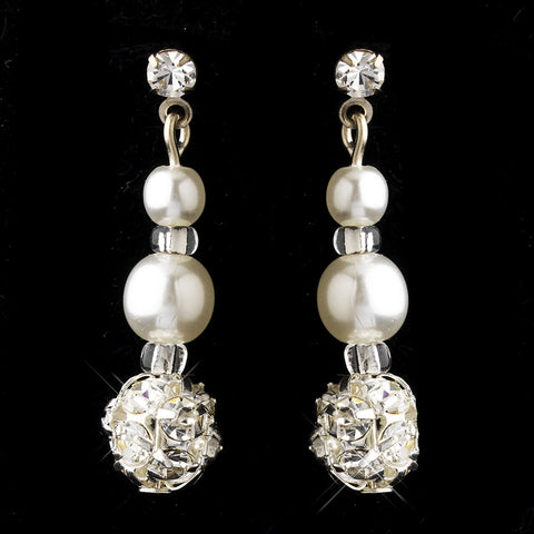 Silver White Czech Pearl & Clear Rhinestone Drop Pierced Bridal Wedding Earrings 8609