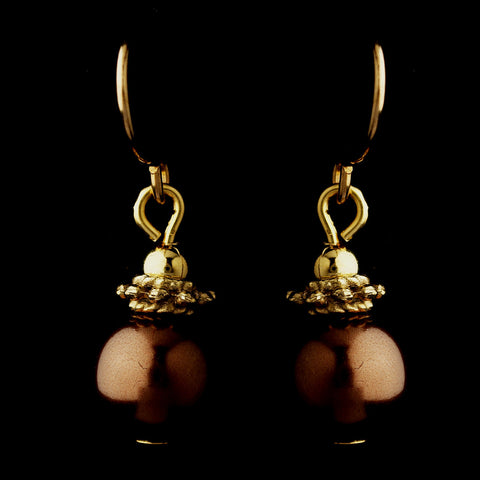 Gold Brown Glass Pearl & Bali Bead Drop Bridal Wedding Earrings 8662