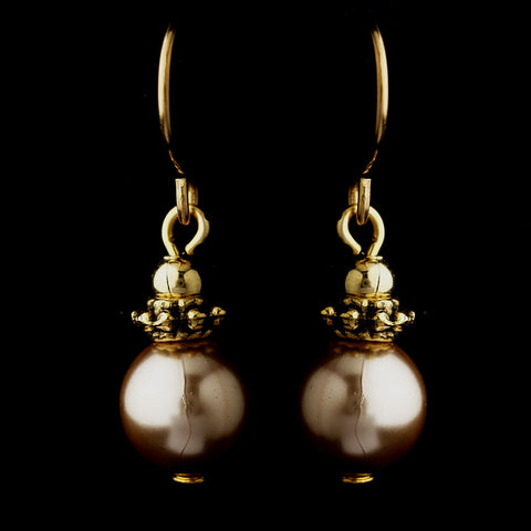 Gold Light Brown Glass Pearl & Bali Bead Drop Bridal Wedding Earrings 8662