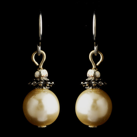 Silver Ivory Glass Pearl & Bali Bead Drop Bridal Wedding Earrings 8662