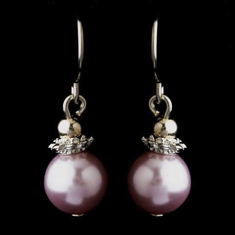 Silver Light Amethyst Glass Pearl & Bali Bead Drop Bridal Wedding Earrings 8662