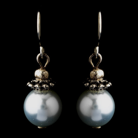 Silver Light Blue Glass Pearl & Bali Bead Drop Bridal Wedding Earrings 8662
