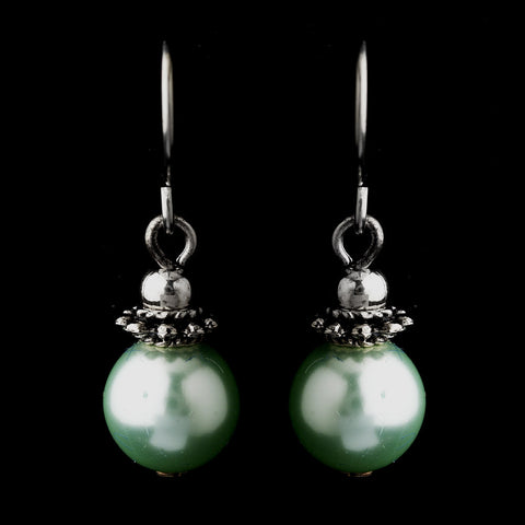 Silver Peridot Glass Pearl & Bali Bead Drop Bridal Wedding Earrings 8662