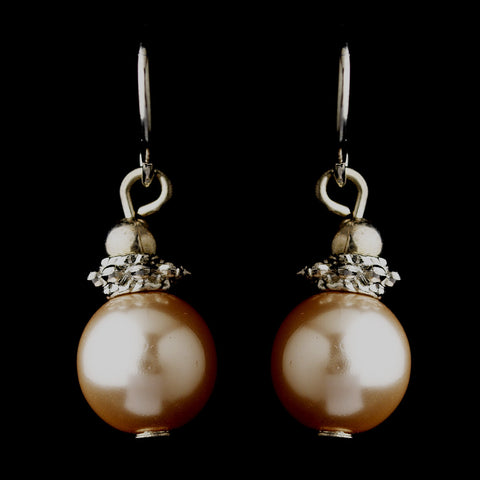 Silver Pink Glass Pearl & Bali Bead Drop Bridal Wedding Earrings 8662