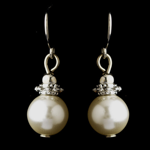 Silver White Glass Pearl & Bali Bead Drop Bridal Wedding Earrings 8662