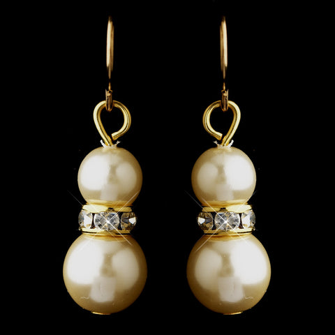 Gold Ivory Czech Glass Pearl & Rhinestone Rondelle Drop Bridal Wedding Earrings 8667