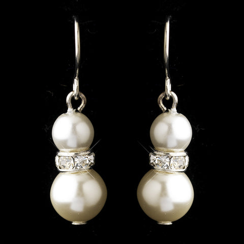 Silver White Czech Glass Pearl & Rhinestone Rondelle Drop Bridal Wedding Earrings 8667